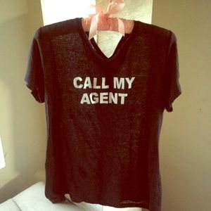 LINEN black tee Call My Agent